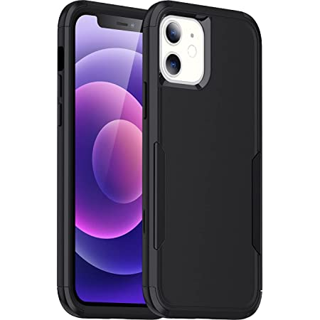LStiaq Compatible with iPhone 12/12 Pro Armor Case - [Rugged + Protective] Tough Grip Cover - Black