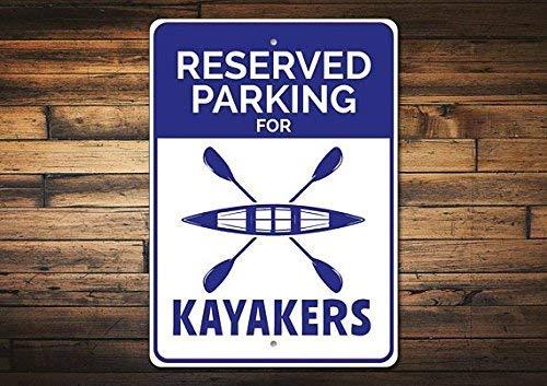 BDTS Nieuwe Kayaker Gift Kayaker Parking Teken Kayak Lover Gift Kayak Decor Kayaker Teken Kajakken Teken Kayak Man Cavea Metalen Teken 8x12 inch