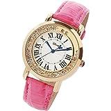 ディズニー腕時計 レディース時計 かわいい ミッキー クリスタル カジュアル ウォッチ disney003 (ピンクゴールド×ピンク)