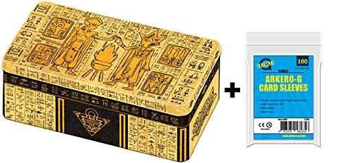 A YuGiOh! Mega Tin Box 2020: Gold Tin of Lost Memories | DEUTSCH | Yu-Gi-Oh! Karten NEU | + Arkero-G 100 Small Soft Sleeves japanische Kartenhüllen