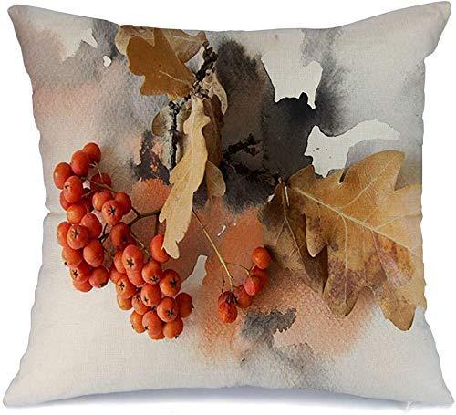 Funda de cojín Invierno Gris Hermosa Composición Ramo Bayas Rowan Acuarela Naturaleza Rojo Collage Navidad Funda de Cojine 45 X 45CM