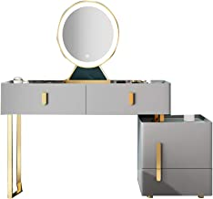 Dressing Table Set, Locker Table & Stool & Mirror Set, Move Top Mirror Large Storage Space and Drawers, Multi-Purpose Bedr...