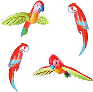 Inflatable Flying Parrot Tropical Beach,Pool Party Decor Summer Colorful Birthday,Wedding Party Supplies 4pcs