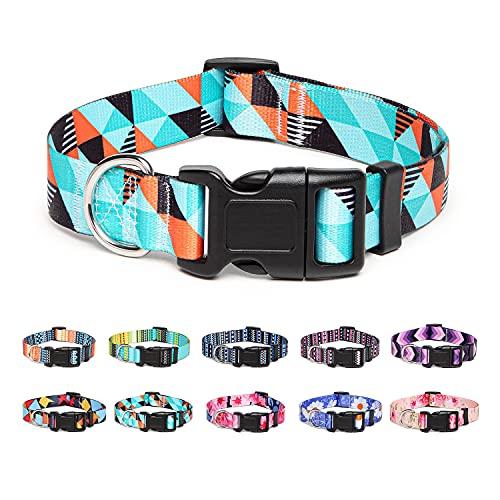 Suredoo Collar Perro, Ajustable y Resistente con Patrones de Moda, Collar Nylon Cómodos para Perros Pequeños Medianos Grandes, Cachorros (M, Geometría)
