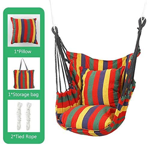 Heirao4072 Hamaca Columpio de cuerda para colgar con 2 almohadas, bolsa de transporte, Hamaca de lona de algodón de calidad superior, comodidad y durabilidad, para jardín, patio, porche