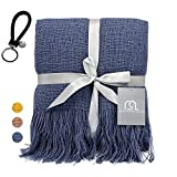 Farmhouse Throw Blanket, Classic Light Weight Soft Blanket – 50 x 60-inch Faux Mohair Couch Throw Blanket, Blue