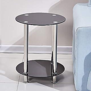 GWFVA Canapé Moderne Table d'appoint Basse pour Salon Table en Bout Ronde en Verre Noir pour Table à goûter avec Rangement...