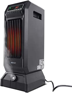 LIFE SMART 2-in-1 Oscillating Infrared Quartz Space Heater and Humidifier, Portable Tower Heater with Adjustable Thermostat and Remote Control, Timer, and Overheat and Tip- Over Protection 1500W