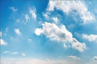 EdCott 9x6ft Cielo Azul Nubes Blancas Fotografía Telón de Fondo Eventos Fiesta de cumpleaños Decoración Fondo de Pantalla Graduación Retrato de Boda Fondo de