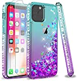 LeYi Compatible for iPhone 11 Pro Case (2019) with Tempered Glass Screen Protector [2Pack] for Girls Women, Glitter Moving Quicksand Clear Phone Case for Apple iPhone 11 Pro 5.8 inch, Teal/Purple