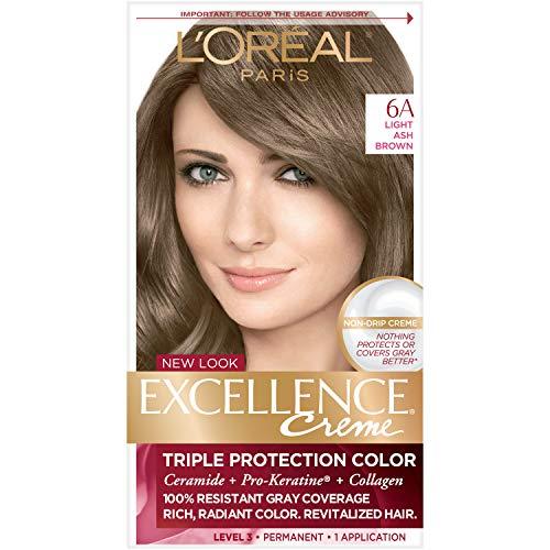 L'Oreal Crème colorante Excellence Crème - Triple protection - Enrichie en Pro-Kératine - Couleur 6A - Châtain cendré clair