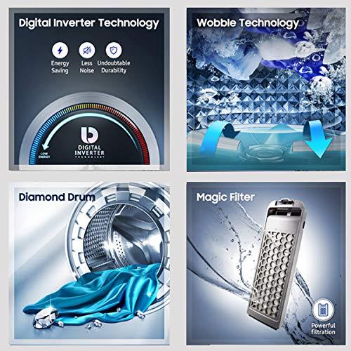 Samsung 6.5 Kg 5 Star Inverter Fully-Automatic Top Loading Washing Machine (WA65T4262GG/TL, Light Grey, Wobble technology) 5