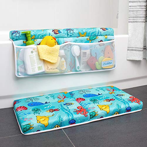 Bath Kneeler and Elbow Rest Pad, Baby Bath Kneeling Set, 1.75 Inch Thick Padded Kneeling Mat for Bathtub, Knee and Elbow Cushion Support for Infant Bathtime with Toy Organizer by ComfyClean