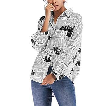 Lu s Chic Women s High Low Tops Long Sleeve Newspaper Print Button Down Shirts Loose Blouse Black US L  Tag XL
