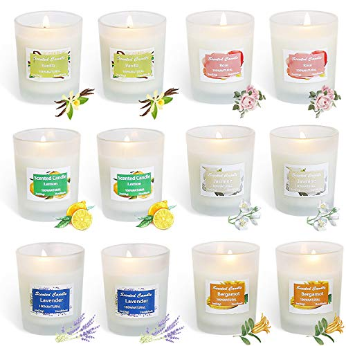 HELLY Soy Candle Strong Scented Candles - Aromatherapy Candles Long Lasting Candles White Frosted Glass Jar Candle (Lemon, Lavender, Rose ,Jasmine,Vanilla,Bergamot) -12 Pack