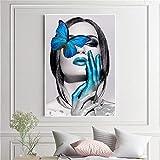 ganlanshu Pintura sin Marco Lady Flower Poster Beauty Body Art decoración Pintura nórdica Negro Blanco Pared decoración del hogarZGQ5107 50X70cm
