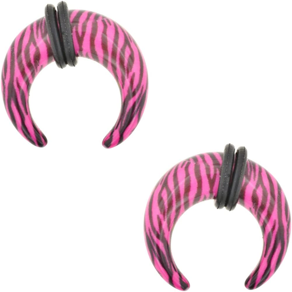 Steel Navel Body Jewelry Pair of Acrylic Zebra Pinchers: 6g Pink