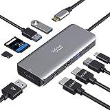 USB Type C ハブ ドッキングステーション USB C ハブ 9in1 HDMI*2(4K@60Hz)/Displayport(4K@60Hz)/ USB3.0(5Gbps)/USB2.0*2 (480bps)/PD(100W)/SD TF(104MB/S)MacBookPro2017/2018/2019/2020Dell/Lenovo/ChromeBook/Huawei など対応usb hdmi