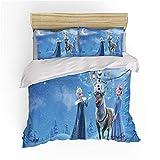 BLSM Disney Frozen Kinder-Bettbezug, 3D Elsa Anna Olaf gedrucktes Bettwäsche-Set mit passendem...