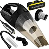LOVIN PRODUCT Black, Portable Handheld Cleaner with Strong Suction DC 12-Volt 120W High Wet & Dry Use/Auto Car Vacuums with 15 ft Power Cord, 2 Filters & Carry Bag