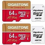 【5年保証】Gigastone Micro SD Card 64GB マイクロSDカード A1 V30 2 Pack 2個セット 2 SD アダプタ付き w/adaptor UHD 4K ビデオ録画 高速 4Kゲーム 95MB/s マイクロ SDXC UHS-I U3 C10 Class 10 メモリーカード Nintendo Switch 動作確認済