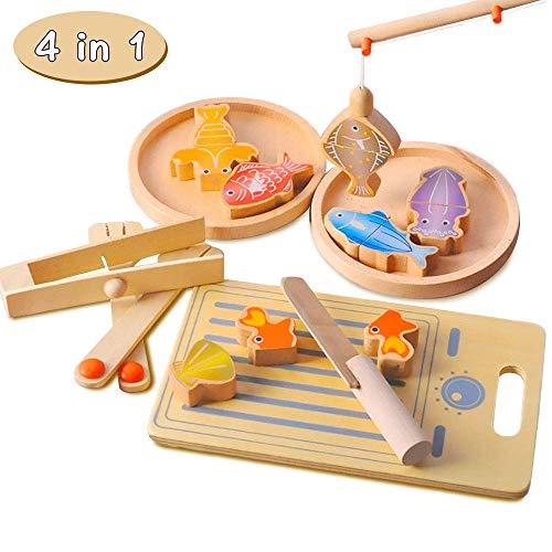 Hölzerne Spiel Essen, Angelspiel for Kinder, Pretend Küche geschnitten Lebensmittel for Kinder Spielzeug, 4 in 1 Fisch Spielzeug, Lernspielzeug for Jungen und Mädchen. zcaqtajro