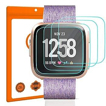 EZCO 4-Pack Screen Protector Compatible with Fitbit Versa & Versa Lite  Not for Versa 2  Waterproof Tempered Glass Screen Protector Cover Saver for Versa Smart Watch Scratch Resist Anti-Bubble
