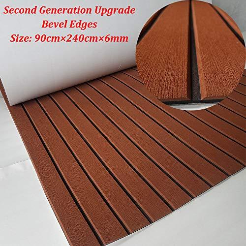 yuanjiasheng 90 × 240 x0,6 cm eva-schuim dekbeslagen voor boten jacht marine vloerbedekking antislip tapijt met plakrug (Bevel Edge)
