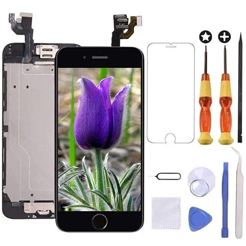 """Brinonac Pantalla para iPhone 6, 4.7"""" Pantalla Táctil LCD con botón de Inicio,Cámara Frontal, Sensor de proximidad, Altavoz, ensamblaje de Marco digitalizador y Kit de reparación (Negro)"""