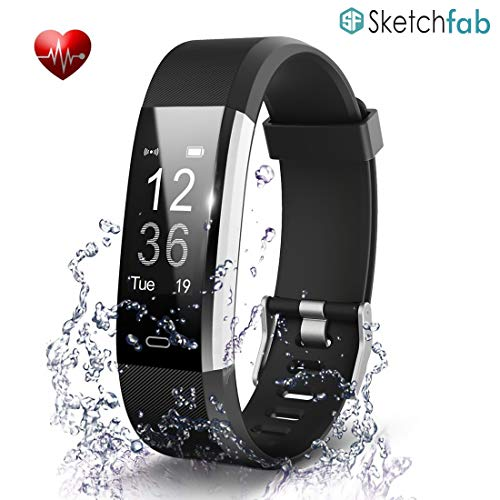 Sketchfab Smart Bracelet Tracker with Heart Rate Sensor Activity Tracker Waterproof Body Functions Like Steps and Calorie Counter, Blood Pressure V5.0 Bluetooth Fitness Band Smart Watch (Black)