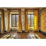 YongFoto 3x2m Vinilo Fondo de fotografía Habitación vacía Papel Pintado Interior Ventana Cortinas Piso de Madera Telón de Fondo de Fotografía Estudio de Foto Studio 10ft