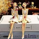 DaFFeng 2Pcs / Set Beautiful Girl & Angel Creative Resin Doll Adornos Estilo Europeo Fairy Garden Figurines Regalo De Boda Decoraciones Para El Hogar