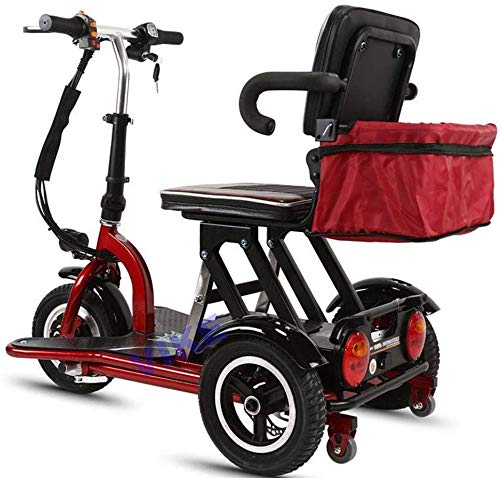 CYGGL handicapé Tricycle électrique Vieux Scooter Pliable Mini Voiture électrique Voiture Adulte 350W Puissance du Moteur Poids 26KG -3 Levier de Vitesse - kilométrage Maximum 55Km