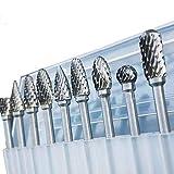 YELLAYBY HSS 10 Piezas/Juego de 1/8' de carburo de tungsteno Burr Rotary Brocas Herramientas Archivos Juego de cortadores de caña de Madera en plástico y Aluminio