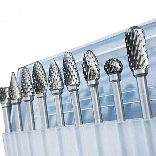 LIAIJU-AIJU 10 Pieces/Set 1/8' Tungsten Carbide Burr Rotary Drill Bits Tools Cutter Files Set Shank Drill Bit Set