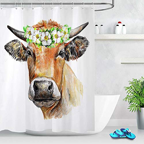 FANYIZHIJIA Aquarell Kuh Mit Blumen Badezimmer Duschvorhang Set Polyester Stoff Haken 120X180Cm