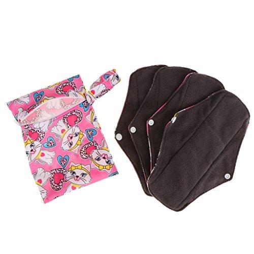 4 Pezzi Borsa per Mestruo Panty Liners Reusable Bamboo Menstrual Pads Donne Riutilizzabili - #A