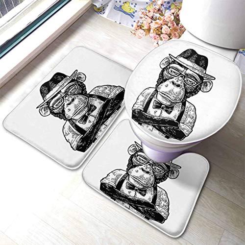 xinping Juego de 3 alfombrillas de baño con diseño de mono hipster con patas cruzadas y sombrero, camisa de gafas y pajarita