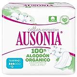 Ausonia Cotton Protection Normal (tamaño 1) Compresas Con Alas, 12, Capa Superior De Algodón...