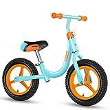 12Inch Bike Balance Del Niño Bicicleta de Entrenamiento para Niños 1-6 Años - Ultra Cool Colors Empuje Las Bicis para Niños Pequeños/N Del Pedal de la Bicicleta Vespa,Blue B