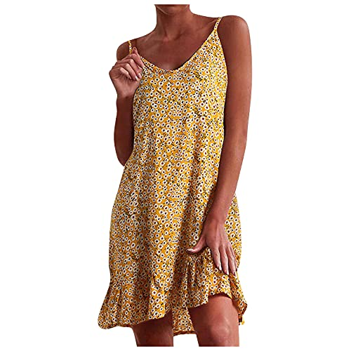 ReooLy Women Sling midi dress summer V-Neck backout Sexy Lace Sleeveless evening Dresses Ball Gown Cocktail(B-Yellow,XXX-Large)