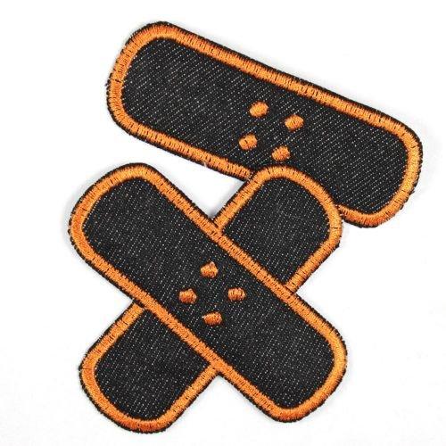 Flicken zum aufbügeln Pflaster Bügelflicken Jeans schwarz orange Set klein mittel Bügelbilder 2 Aufbügler Patches für Erwachsene und Kinder gestickte Applikationen
