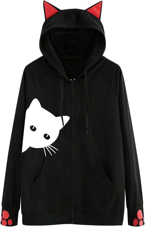 Womens Sweatshirt Coats Cat Printed Long Ear Hoodies Sale Special Price Sl Cute Max 79% OFF