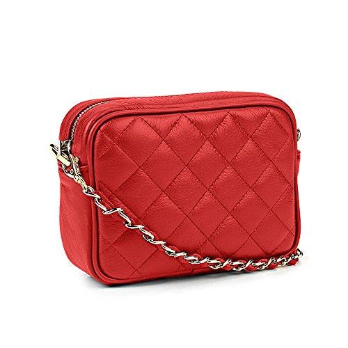 #MYITALIANBAG LINDA Borsetta pochette a spalla in pelle trapuntata tracolla catena e pelle oro chiaro pelle liscia morbida (rosso)