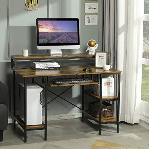 Sedeta PC Tisch, Computertisch PC Schreibtisch Home Office, 118X60cm Schreibtisch mit Tastaturablage, PC Laptop Tisch, Schreibtisch Bürotisch mit 2 Regalebenen/Monitorständer, (Rustikales Braun)