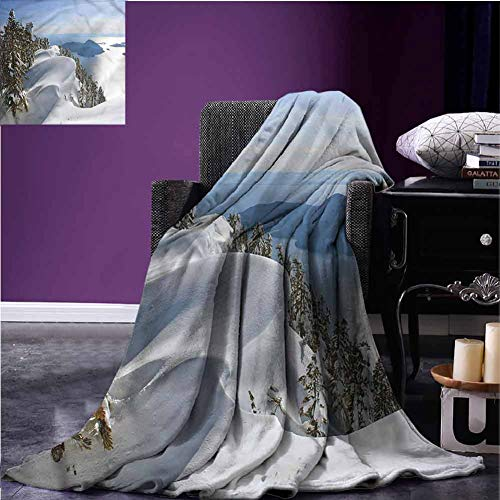 Mannwarehouse Winter Soft Throw Blanket Flannel Blanket Pacific Ocean Mountains Lightweight Plush Microfiber Blanket for Bed Couch and Living Room W63 xL63
