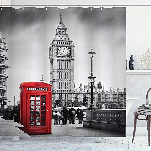 ABAKUHAUS Duschvorhang, Londoner Rote Handyzelle mit Big Ben im Great Bell Touristen England Schwarz Weiß Rot, Blickdicht aus Stoff inkl. 12 Ringe für Das Badezimmer Waschbar, 175 X 200 cm