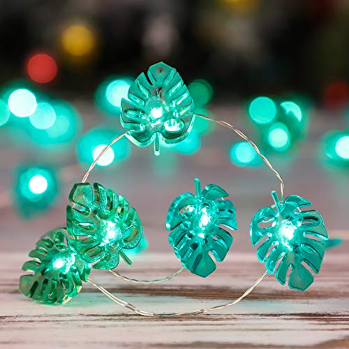 Monstera Plant String Lights Tropical Decoration Ideas 10ft 40 LEDs Battery St Patrick Day Themed Decor with Remote 9 Lighting Models Green Fairy Night Light for Indoor amp Covered Outdoor Party