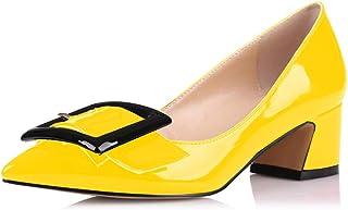 elashe Escarpins Femme - 1.7 inches Talon Moyen Bloc Chaussures - Bout Pointu Fermé - Classique Bureau
