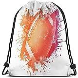 BOUIA Sacs à Dos à Cordon de Serrage Sport Gym Cinch Bag, Ballon de Rugby en aquarelles numériques Splash Loisirs récréatifs Sports Run Design Art Theme